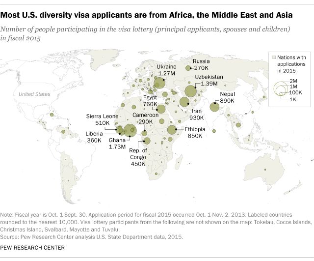 Most U.S. diversity visa applicants are from Africa, the Middle East and Asia