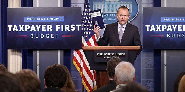 Office of Management and Budget Director Mick Mulvaney discusses the Trump administration's proposed federal budget for fiscal 2018 at a news conference Tuesday. (Chip Somodevilla/Getty Images)