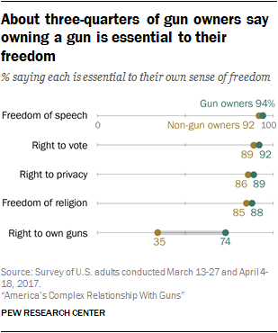 About three-quarters of gun owners say owning a gun is essential to their freedom