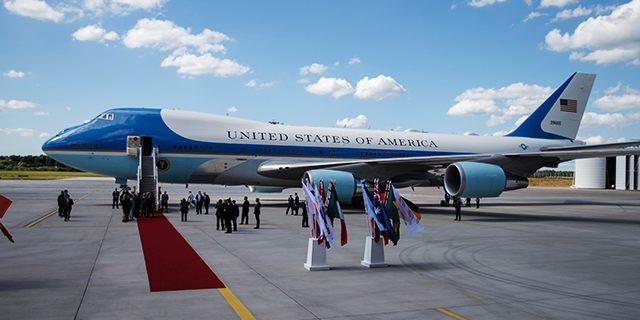 Air Force One sits on the tarmac at Hamburg Airport as President Donald Trump arrives July 6 for the G20 economic summit.(Morris MacMatzen/Getty Images)