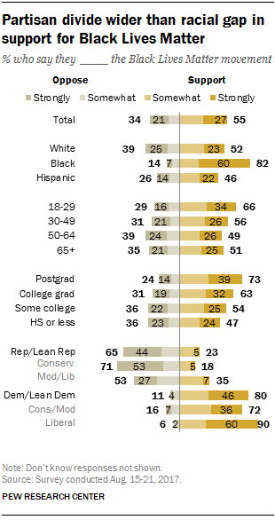 Partisan divide wider than racial gap in support for Black Lives Matter