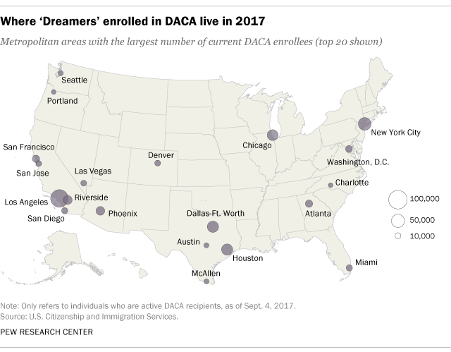 Where 'Dreamers' enrolled in DACA live in 2017