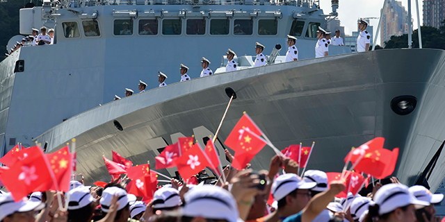 Many in Asia-Pacific countries say they are concerned about China's growing military power. Here, a farewell ceremony for the Chinese aircraft carrier Liaoning on July 11 in Hong Kong. (Xu Dongdong/VCG via Getty Images)