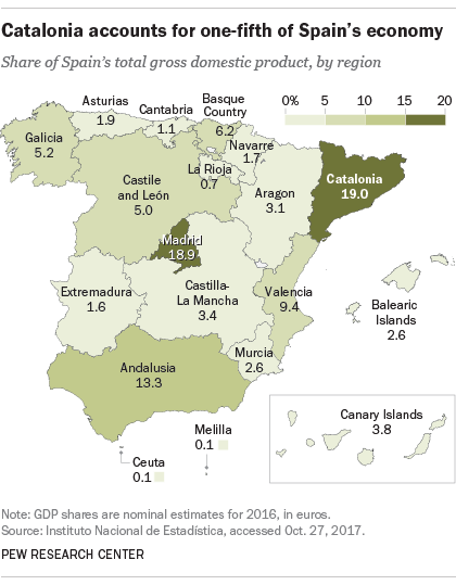 Map Of Spain Showing Catalonia.Catalans More Negative On Government Than Others In Spain Pew