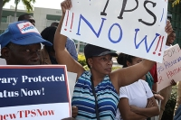 Demonstrators call for renewal of Temporary Protected Status for Haitians