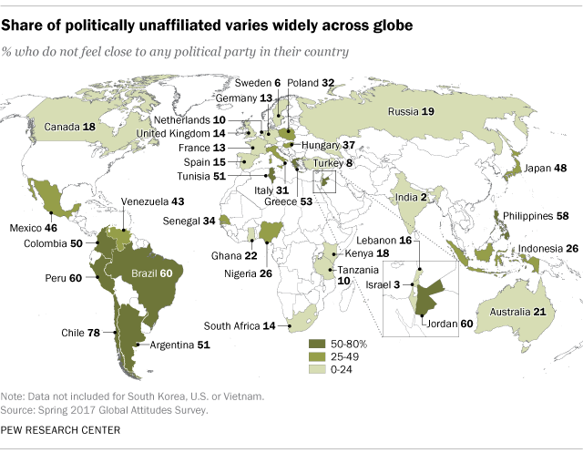 Share of politically unaffiliated varies widely across globe