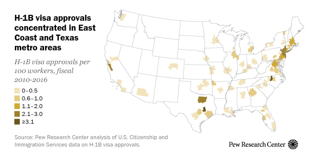 H-1B visa approvals concentrated in East Coast and Texas metro areas