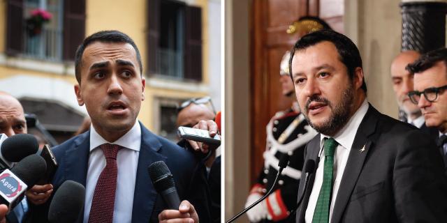 Five Star Movement's Luigi Di Maio, left, and the League's Matteo Salvini. (Left: Antonio Masiello/Getty Images. Right: Massimo Di Vita/Archivio Massimo Di Vita/Mondadori Portfolio via Getty Images)