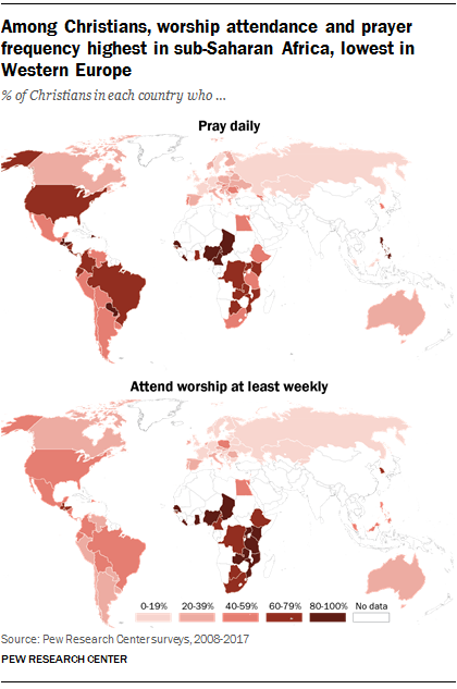 Among Christians, worship attendance and prayer frequency highest in sub-Saharan Africa, lowest in Western Europe