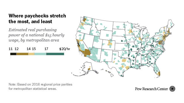 What is a $15 wage really worth? Depends where you live