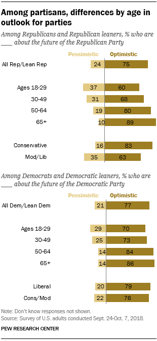 Among partisans, differences by age in outlook for parties