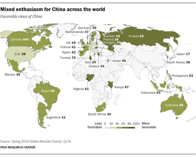 Mixed enthusiasm for China across the world