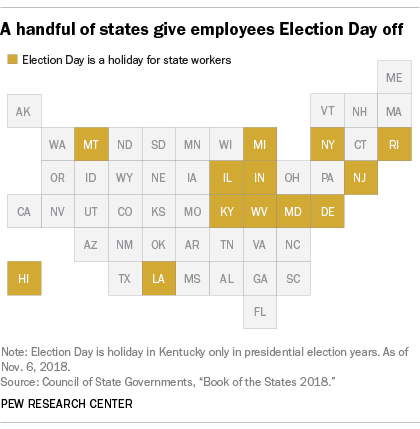 A handful of states give employees Election Day off