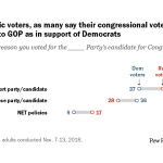 For Democratic voters, as many say their congressional vote was in opposition to GOP as in support of Democrats