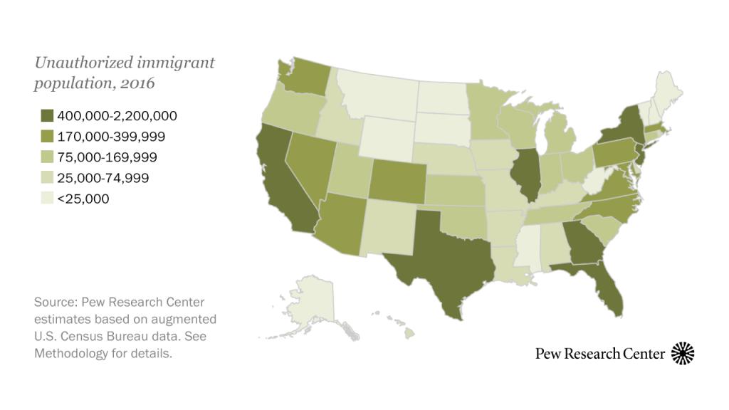 Unauthorized immigrant population, 2016
