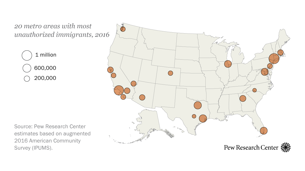 Most U.S. unauthorized immigrants live in just 20 metro ...