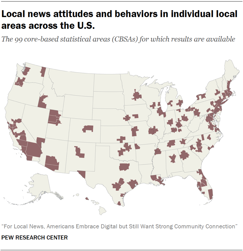 Local news attitudes and behaviors in individual local areas across the U.S.