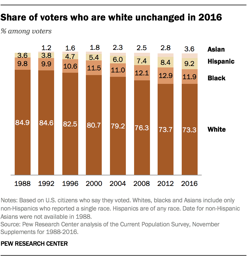 Share of voters who are white unchanged in 2016