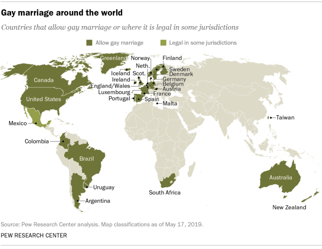 Gay marriage around the world 2019 (world map)