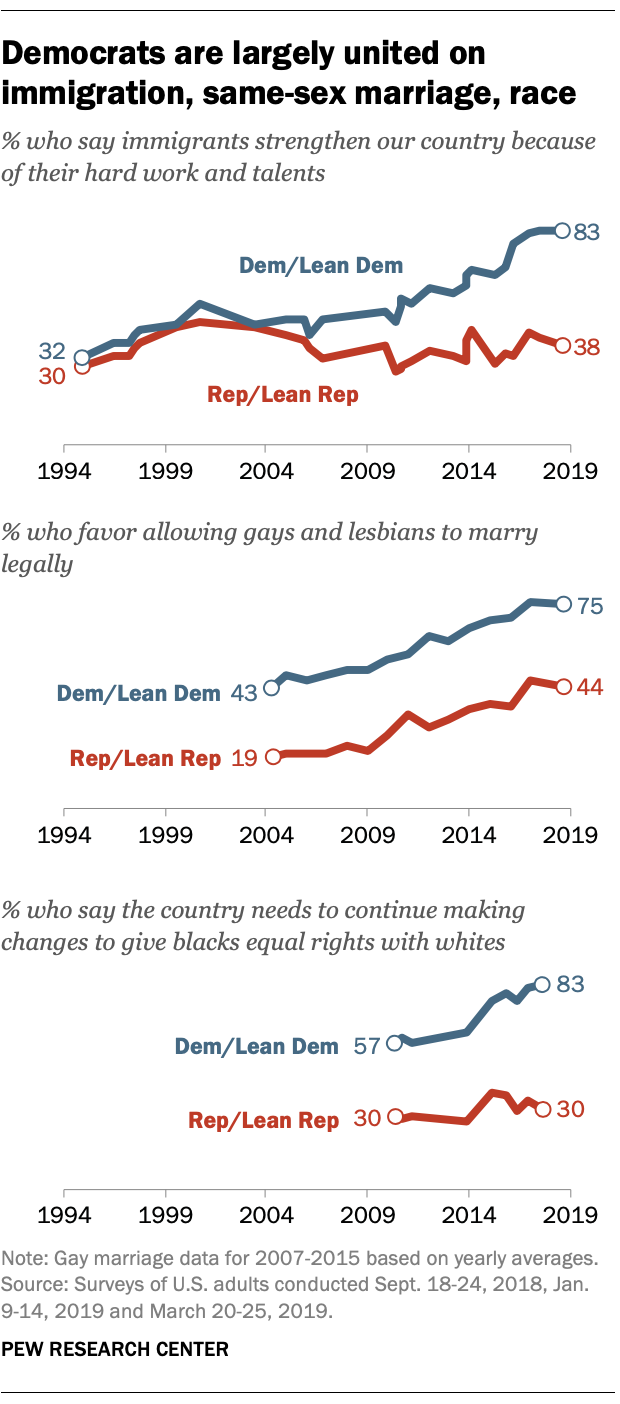 Democrats are largely united on immigration, same-sex marriage, race