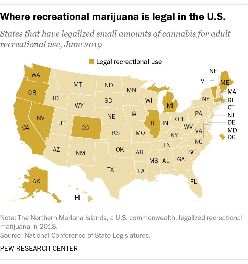 Where recreational marijuana is legal in the U.S.