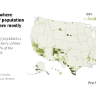 U.S. counties where white share of population is below 50% are mostly in Southwest