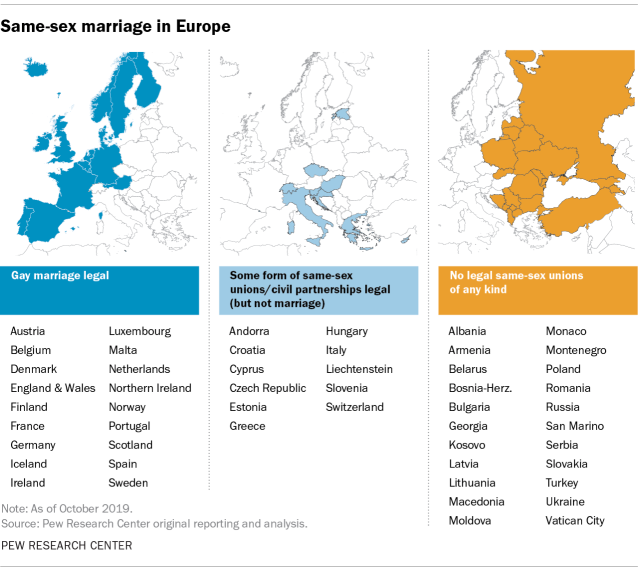 List of countries where gay marriage is legal, where civil partnerships (or similar) are legal, and where there are no legal same-sex unions.  Accompanied by maps.