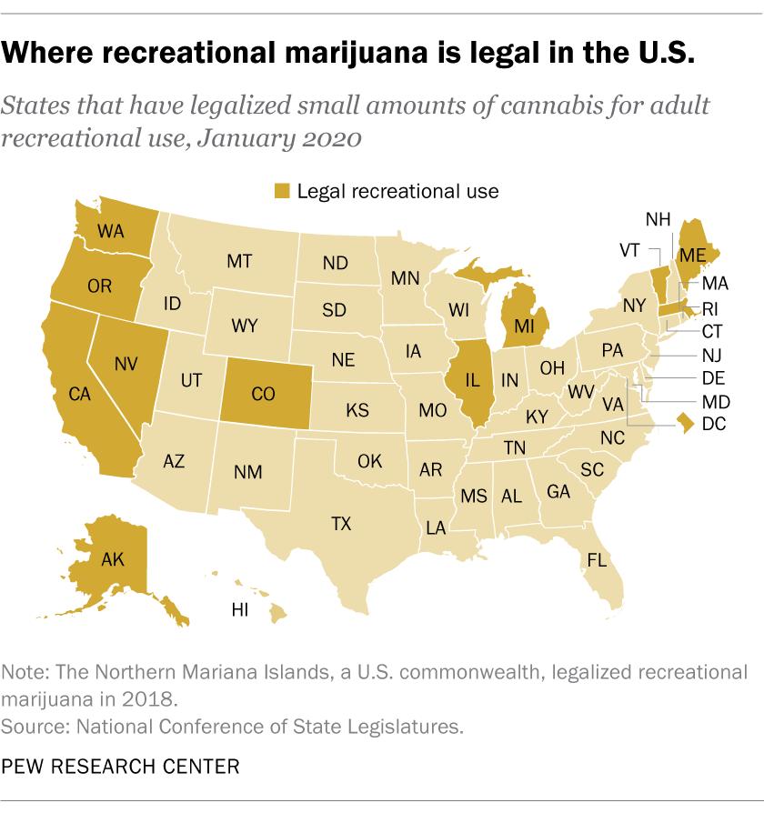 Where recreational marjuana is legal in the U.S.