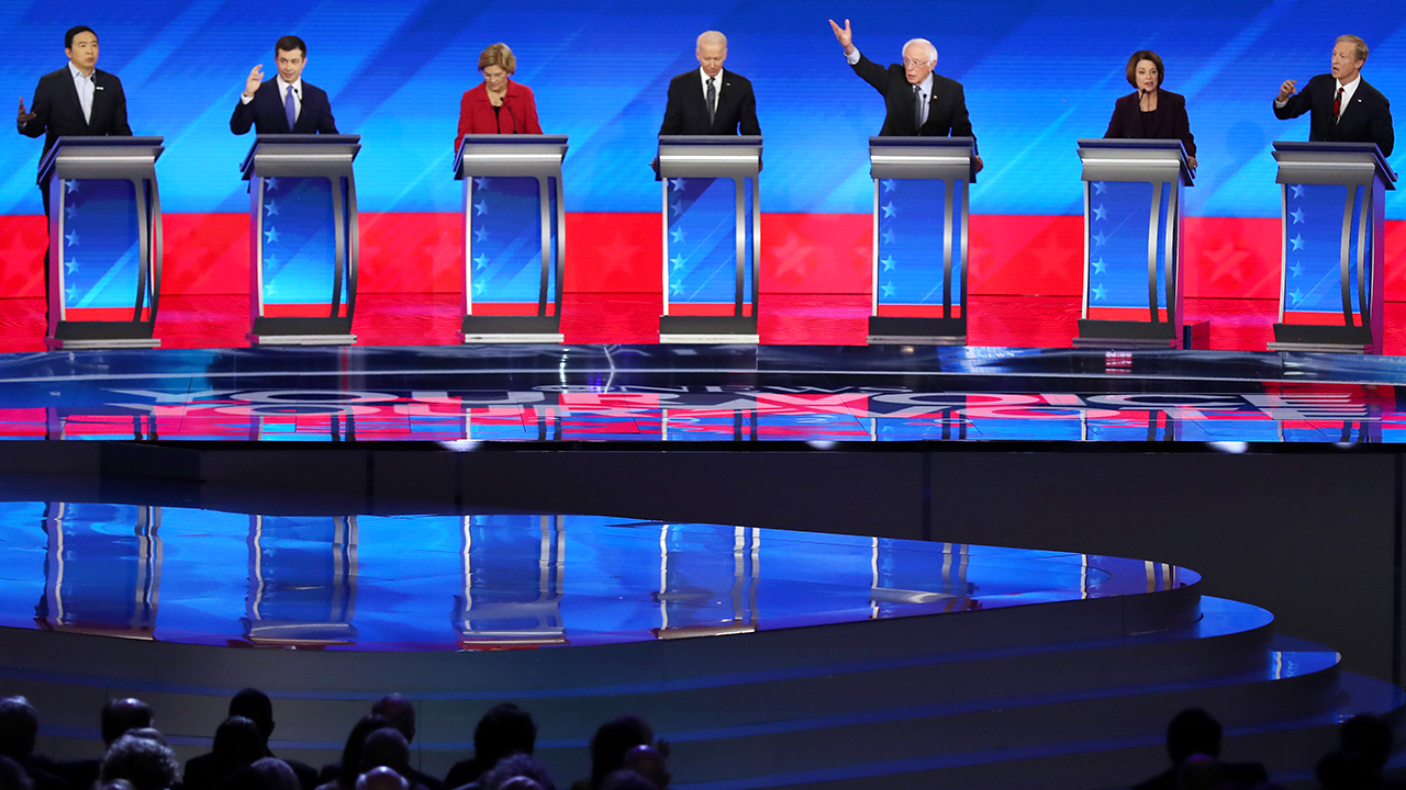 Candidates participated in the Democratic presidential primary debate at St. Anselm College on Feb. 7 in Manchester, New Hampshire. (Joe Raedle/Getty Images)