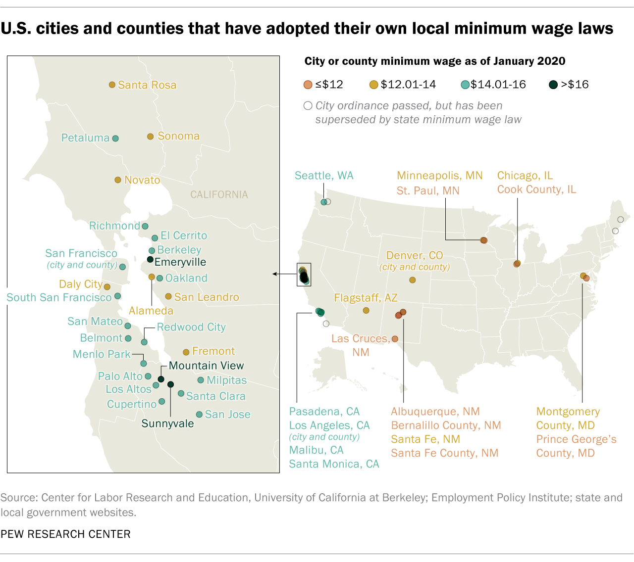 U.S. cities and counties that have adopted their own local minimum wage laws