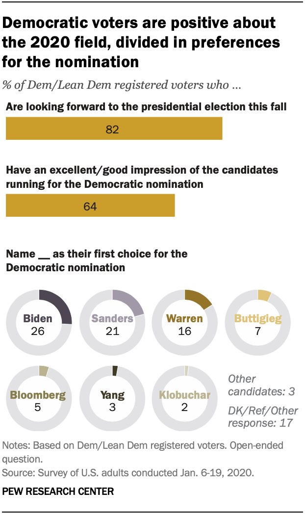 Democratic voters are positive about the 2020 field, divided in preferences for the nomination