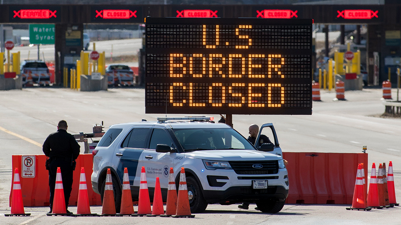 The U.S.-Canada border in Lansdowne, Ontario, on March 22. (Lars Hagberg/AFP via Getty Images)