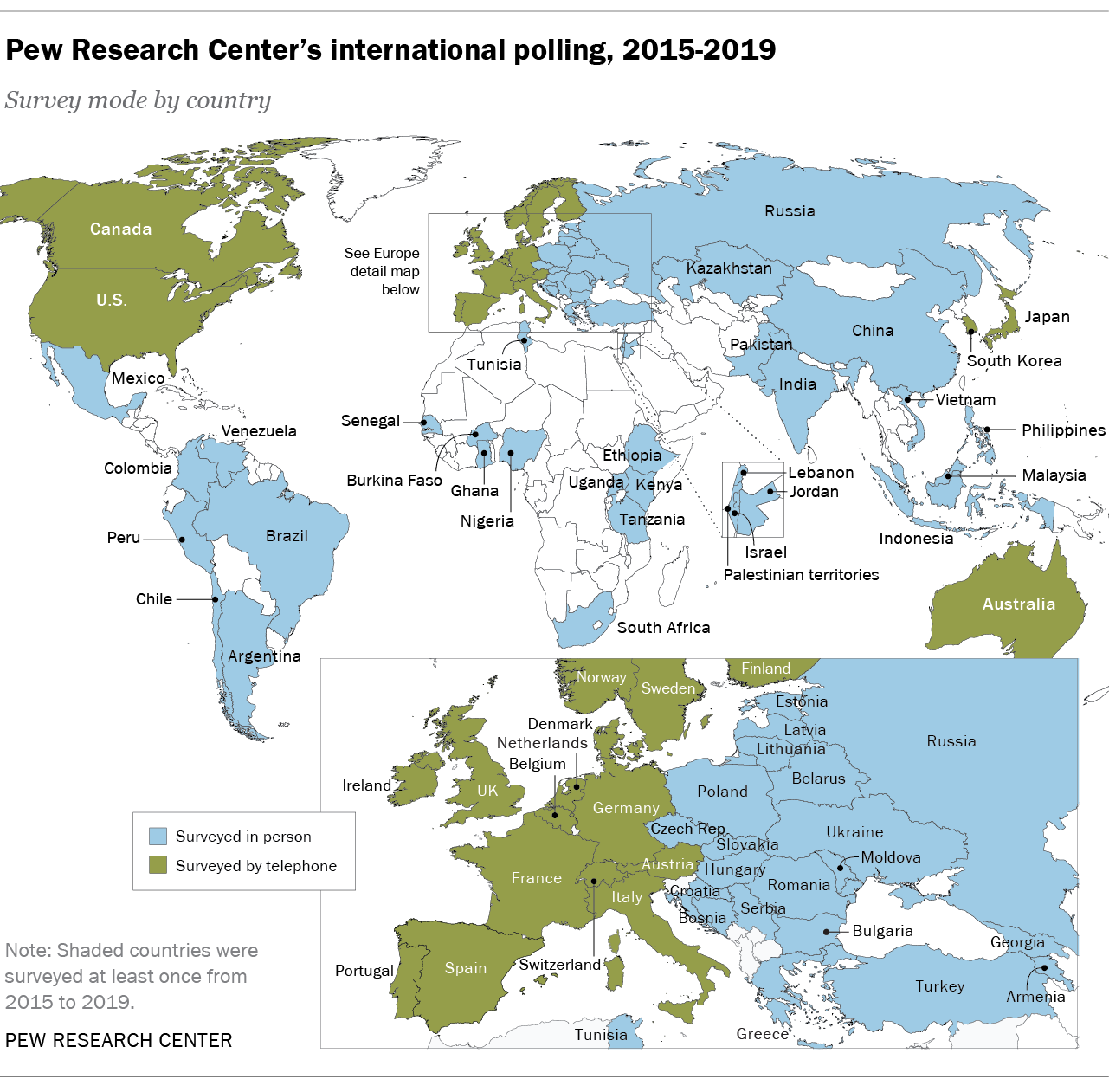 Pew Research Center's international polling, 2015-2019