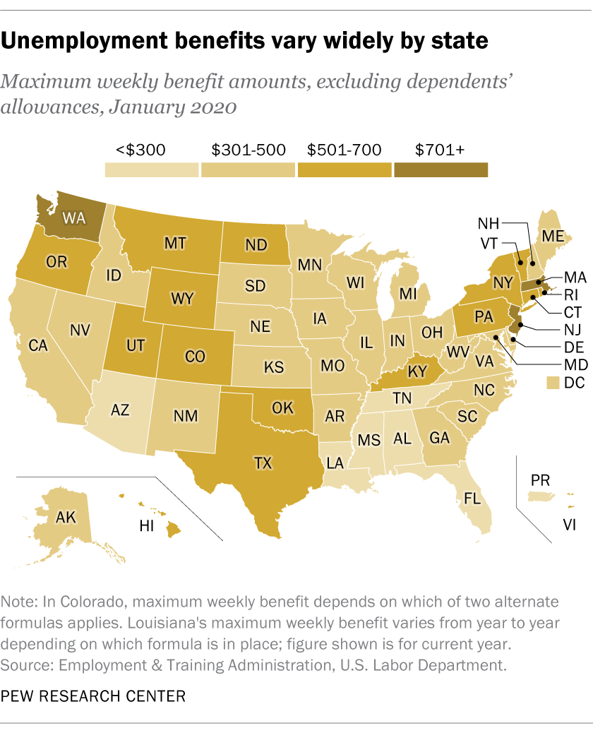 Unemployment benefits vary widely by state
