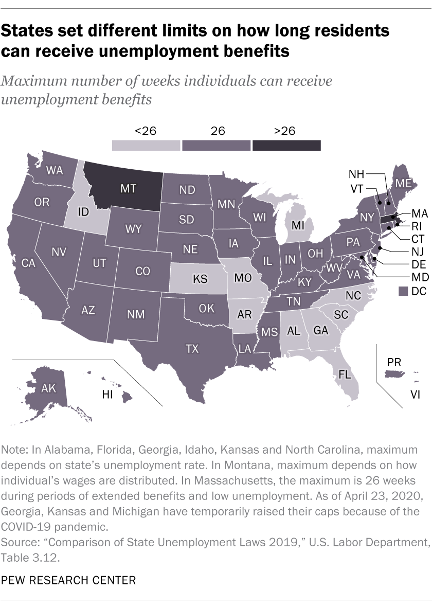 States set different limits on how long residents can receive unemployment benefits