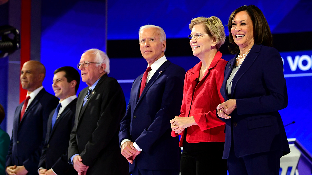 Democrats' presumptive presidential nominee for 2020, former Vice President Joe Biden, at a September 2019 debate in Houston with then-candidates Cory Booker, Pete Buttigieg, Bernie Sanders, Elizabeth Warren and Kamala Harris. (Frederic J. Brown/AFP via Getty Images)