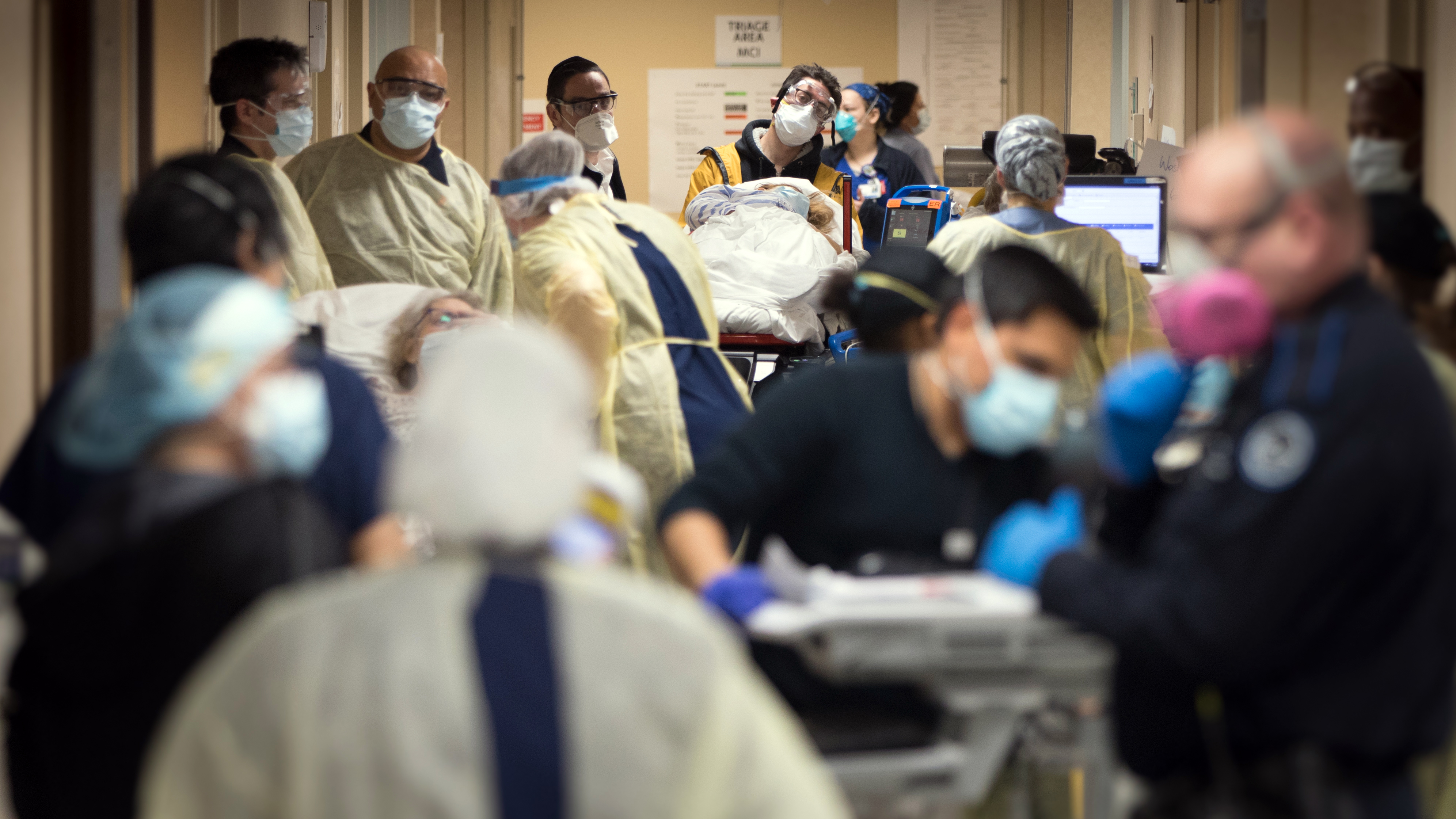 Doctors at Mount Sinai South Nassau hospital treat patients in Oceanside, New York, on April 13. (Jeffrey Basinger/Newsday via Getty Images)