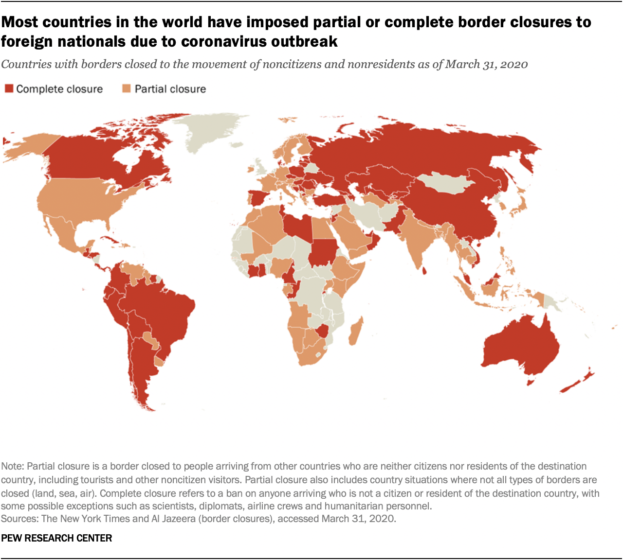 Most countries in the world have imposed partial or complete border closures to foreign nationals due to coronavirus outbreak