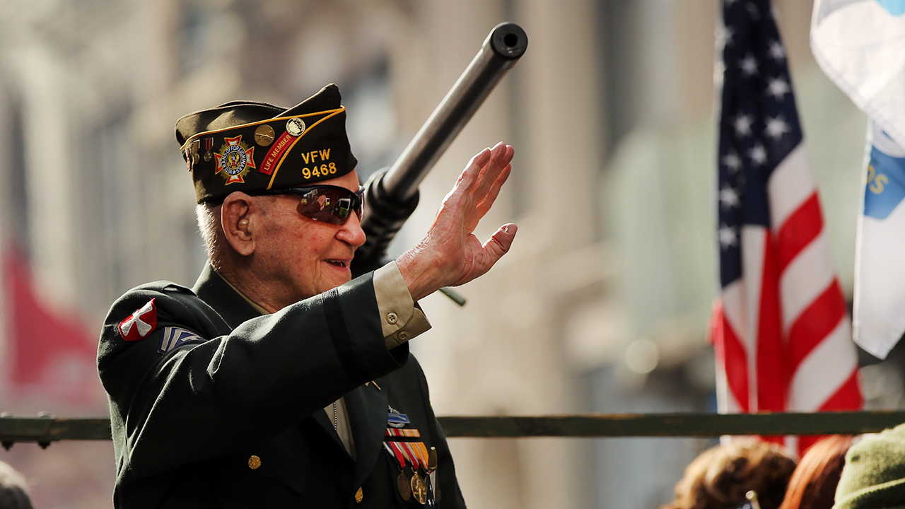 A World War II veteran participates in a Veterans Day Parade on Nov. 11, 2019, in New York City. (Spencer Platt/Getty Images)