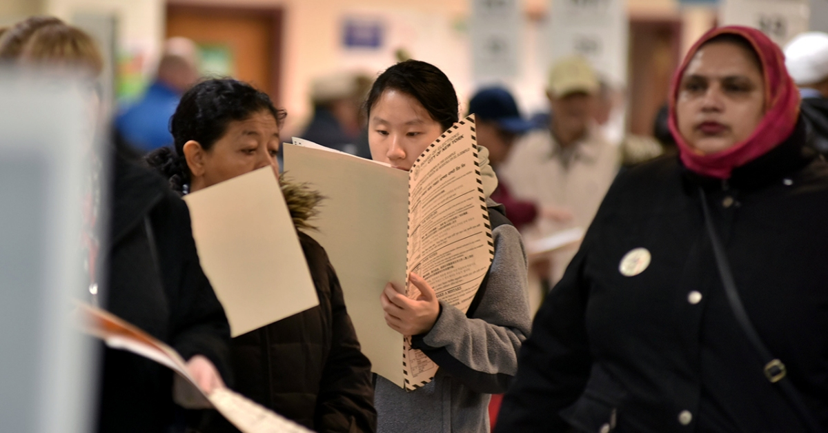 Voters cast their ballots on Election Day in November 2018 in New York City. (Joana Toro/VIEWPress/Corbis via Getty Images)
