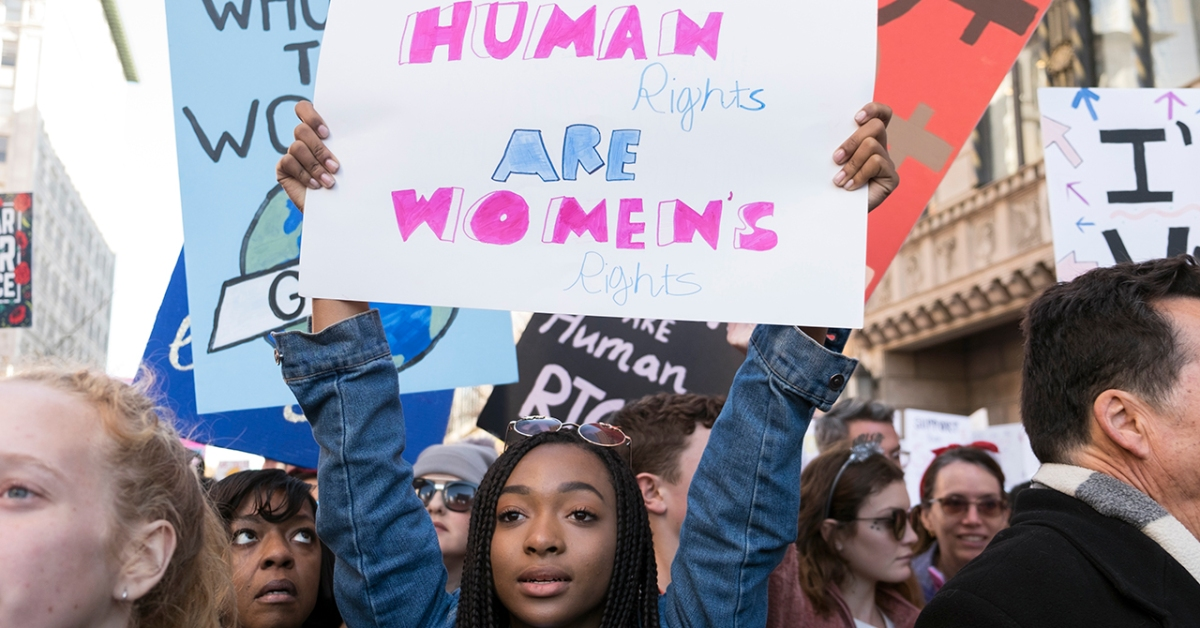 An activist participates in the Women's March on Jan. 20, 2018, in Los Angeles, California. (Sarah Morris/Getty Images)