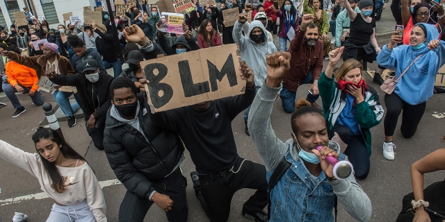 People attend a Black Lives Matter protest in London on June 3, 2020. (Guy Smallman/Getty Images)