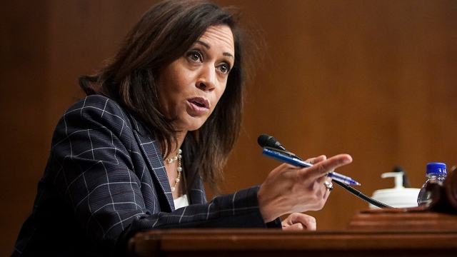Sen. Kamala Harris, D-Calif., at a Senate Homeland Security and Governmental Affairs Committee hearing on June 25. (Alexander Drago/Pool/AFP via Getty Images)