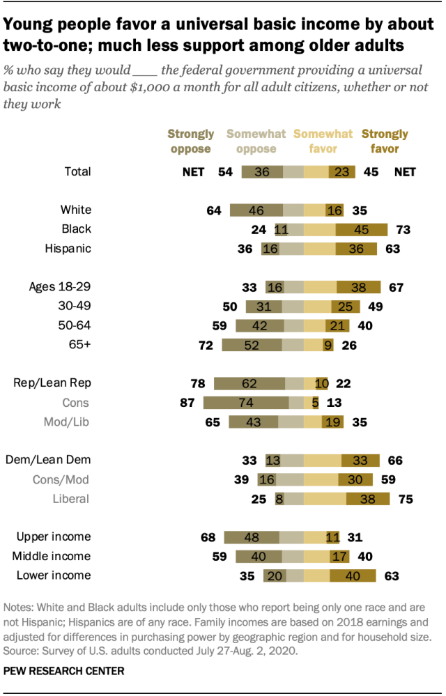 Young people favor a universal basic income by about two-to-one; much less support among older adults