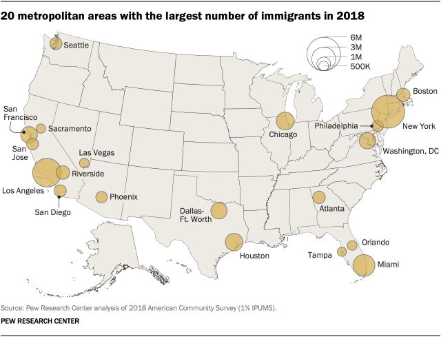 20 metropolitan areas with the largest number of immigrants in 2018