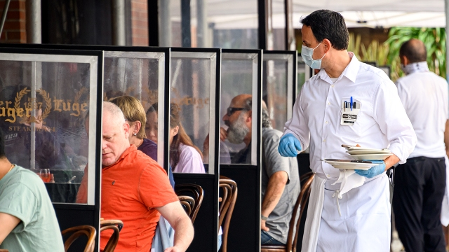 Outdoor diners at a restaurant in the Williamsburg neighborhood of New York City on Sept. 10, 2020, as the state continues to scale back coronavirus-related restrictions. (Noam Galai/Getty Images)