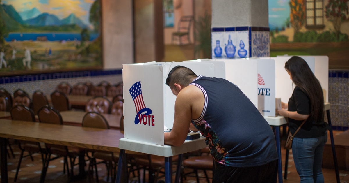 Latinos vote at a polling station in Los Angeles. (David McNew/Getty Images)