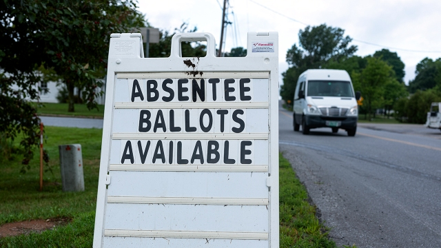 A sign outside the Charlotte, Vermont, Town Hall on Aug. 10, 2020. (Robert Nickelsberg/Getty Images)