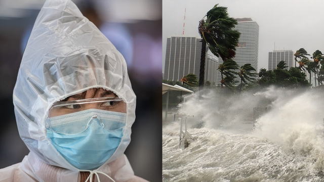 A traveler guarding against COVID-19 leaves the railway station in Wuhan, China, in March 2020; Hurricane Irma pummels Miami in September. (Feature China/Barcroft Media, left; Warren Faidley, both Getty Images)