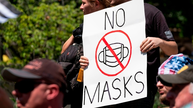 Anti-mask protesters outside the Ohio Statehouse in Columbus on July 18, 2020. (Jeff Dean/AFP via Getty Images)